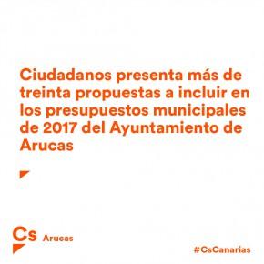 Ciudadanos presenta más de treinta propuestas a incluir en los presupuestos municipales de 2017 del Ayuntamiento de Arucas