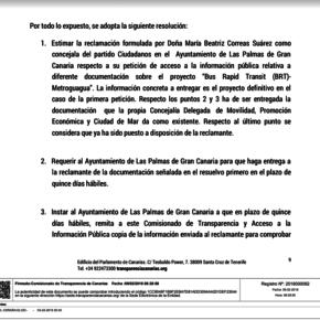 """Beatriz Correas (Cs): """"El Comisionado de Transparencia ha dado la razón a Cs en su denuncia por secuestro de información sobre la Metroguagua"""""""